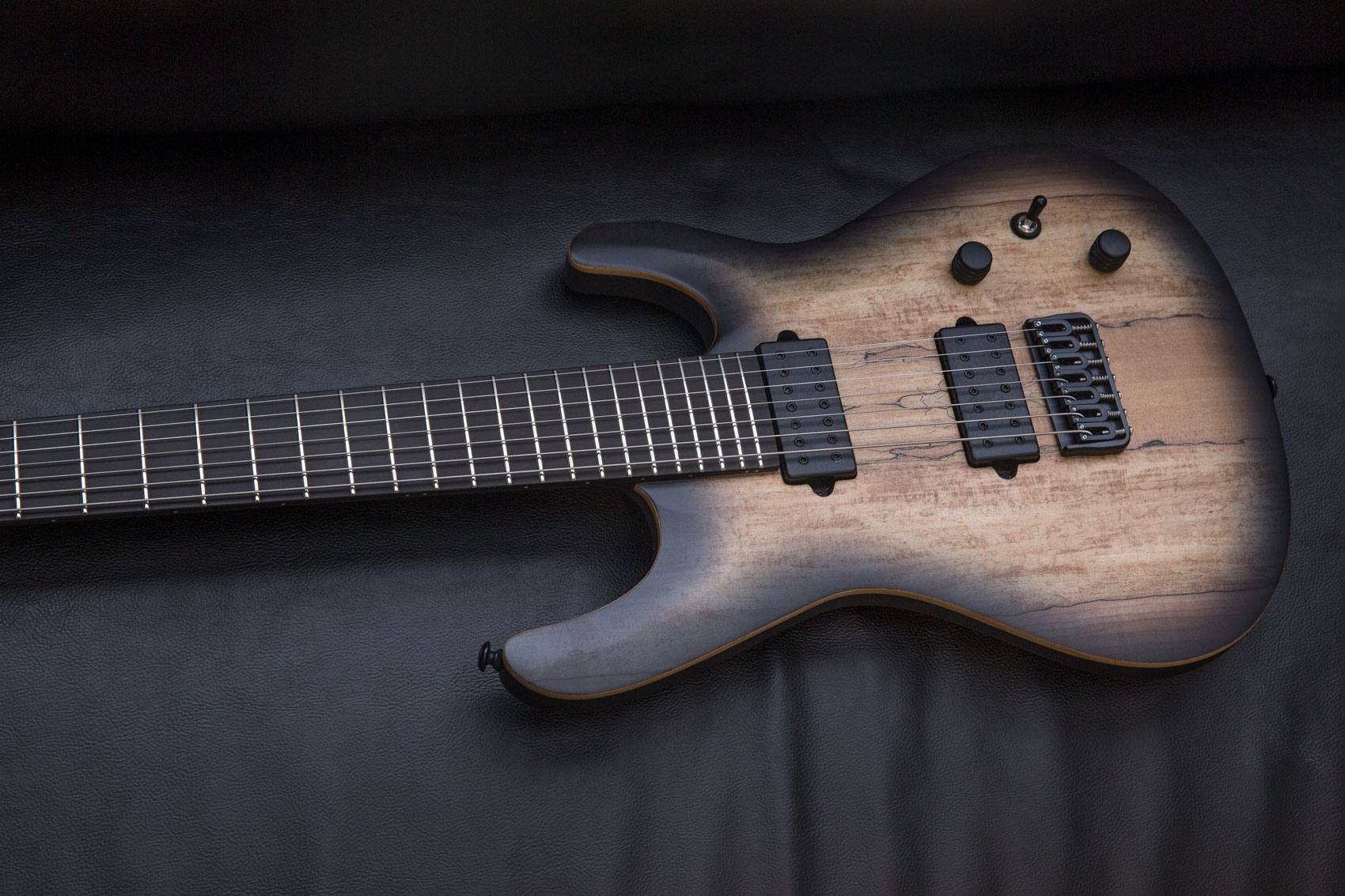 Jericho Guitars Elite 7 Natural Black Burst Satin Finish 3 Way Switch Options Dimarzio Titan String Set 1 Volume Tone Push Pull For Single Coil Voicing